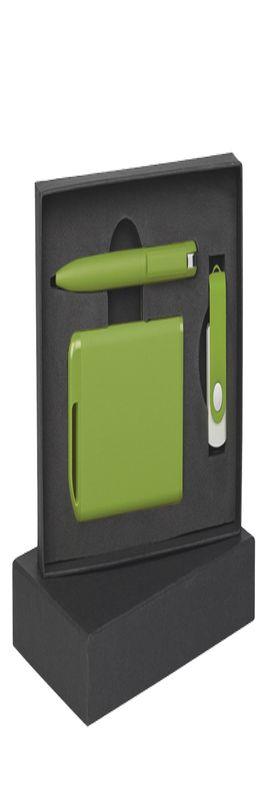 Набор ручка + флеш-карта 16Гб + зарядное устройство 4000 mAh в футляре, покрытие soft touch фото