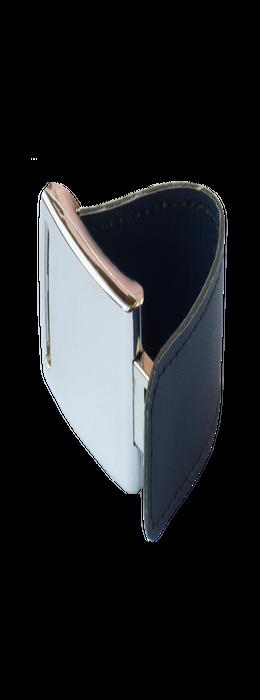 Флешка Элегант, металлическая с кожаными вставками, темно-синяя, 8Гб фото