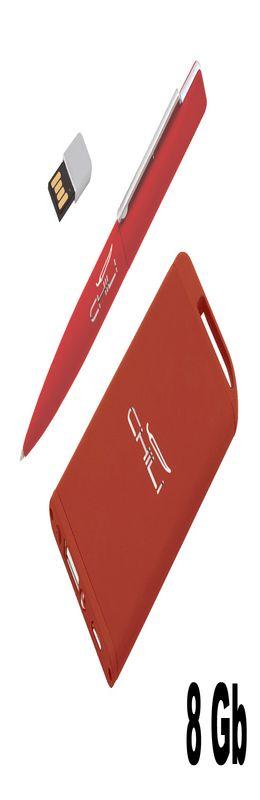 "Набор ручка ""Callisto"" c флеш-картой 8Гб + зарядник""Theta"" 4000 mAh в футляре, покрытие soft touch фото"