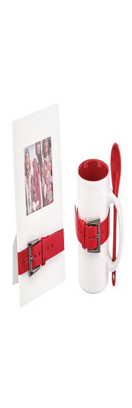 """Набор подарочный """"Модерн"""": фоторамка и кружка с ложкой, белый/красный фото"""