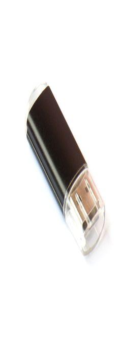 Флешка Симпл прямоугольная, пластиковая с металлической вставкой, черная, 8Гб фото