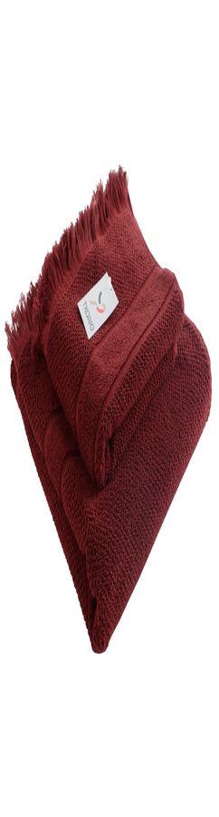 Полотенце для рук декоративное с бахромой бордового цвета фото