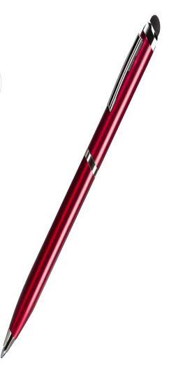 CLICKER TOUCH, ручка шариковая со стилусом для сенсорных экранов, красный/хром, металл фото