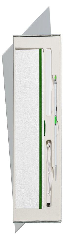 Подарочный набор Portobello/Arctic бело-зеленый (Ежедневник недат А5, Ручка, Power Bank) фото