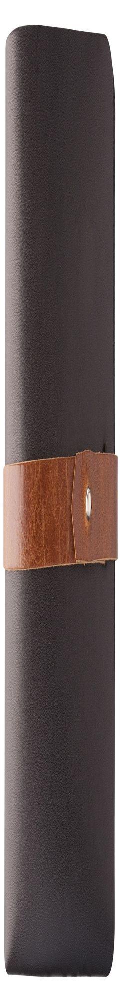 Автобумажник Leaf Explorer, черный с коричневым хлястиком фото