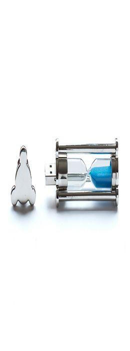 Флешка Песочные часы, металлическая со стеклянным элементом, синяя, 4Гб фото