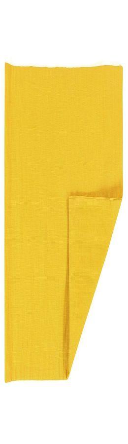 Двухсторонняя салфетка под приборы из умягченного льна с декоративной обработкой горчичного цвета фото