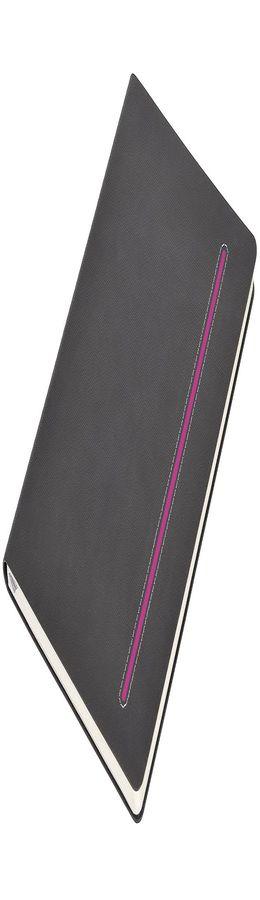 Бизнес-блокнот А5 Elegance, серый с лиловой вставкой фото