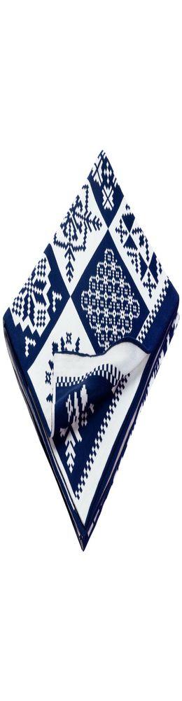 Плед «Скандинавские узоры», темно-синий с молочно-белым фото