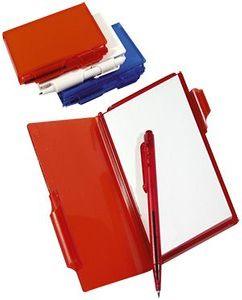 Блокнот для записей с авторучкой; красный фото