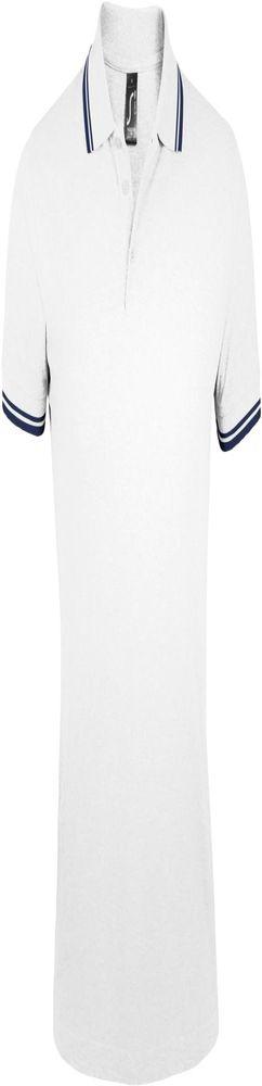 Рубашка поло мужская PASADENA MEN 200 с контрастной отделкой белая с синим фото