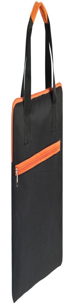 Конференц-сумка Unit Сontour, черная с оранжевой отделкой фото
