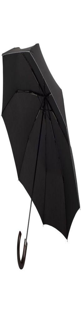 Складной зонт Wood Classic с серой окантовкой, черный фото
