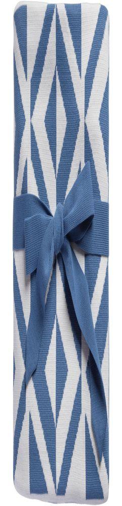 Плед Metropol, голубой с молочно-белым фото