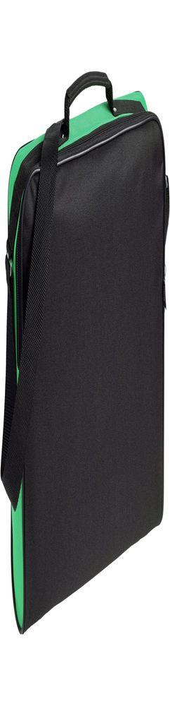 Сумка для документов Unit Metier, черная с зеленой отделкой фото