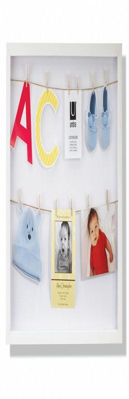 Панно с зажимами для 12 фотографий clothesline белое фото