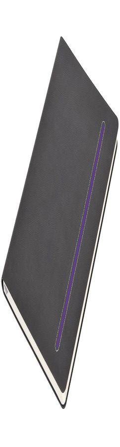 Бизнес-блокнот А5 Elegance, серый с фиолетовой вставкой фото