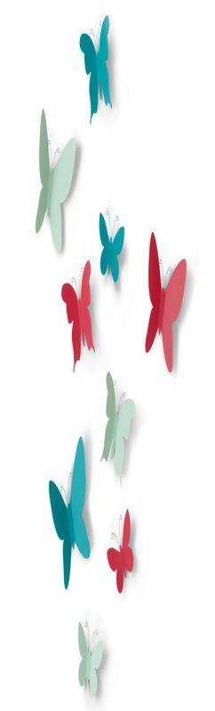 Декор для стен mariposa 9 элементов разноцветный  фото