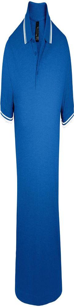 Рубашка поло мужская PASADENA MEN 200 с контрастной отделкой ярко-синяя с белым фото