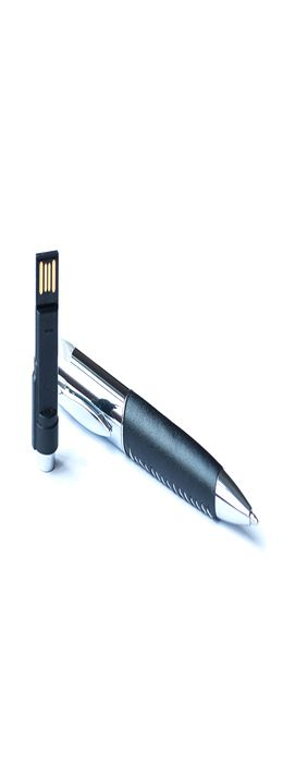 Ручка с флешкой Премиум, металлическая с кожаной вставкой, черная, 16Гб фото
