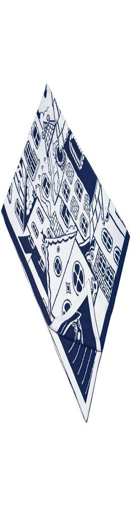 Плед «Город», темно-синий с белым фото