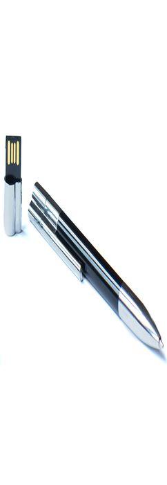 Ручка с флешкой Промо, пластиковая, черная, 8Гб фото