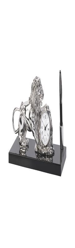 Часы настольные со львом, с ручкой, на деревянной основе, посеребрение, h 15 см фото