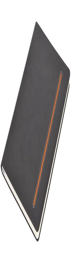 Бизнес-блокнот А5 Elegance, серый с оранжевой вставкой фото