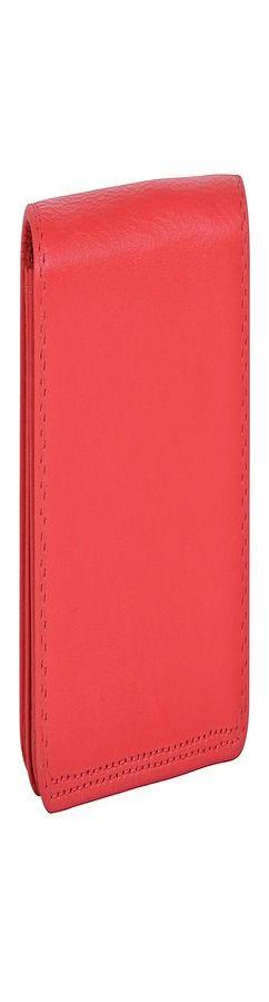 """Футляр для визиток  """"Триест"""",  9.5*7 см,  красный, кожа, подарочная упаковка фото"""