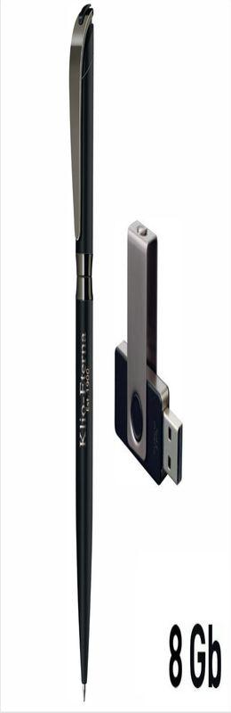 Набор авторучка + флеш-карта 8Гб в футляре, прорезиненная поверхность,черный фото