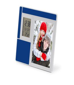 Рамка для фотографии 9х13 см с часами, датой, термометром фото
