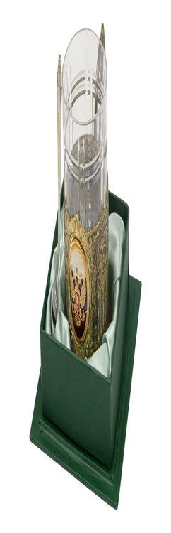 Подстаканник с хрустальным стаканом и ложкой «Российский» фото
