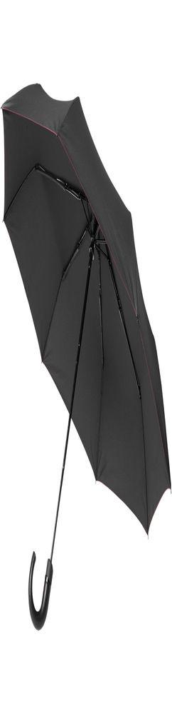 Зонт складной Lui, черный с красным фото