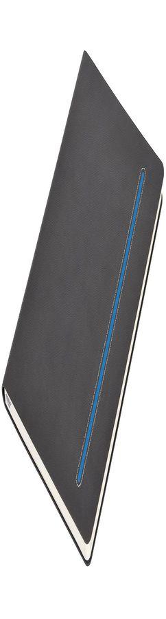 Бизнес-блокнот А5 Elegance, серый с синей вставкой фото