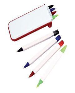 """Набор """"Help"""": две цветных шариковых ручки, карандаш и маркер, красный фото"""