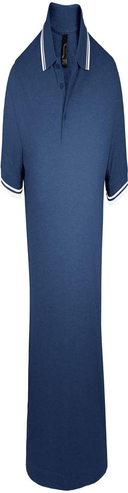 Рубашка поло мужская PASADENA MEN 200 с контрастной отделкой темно-синяя с белым фото