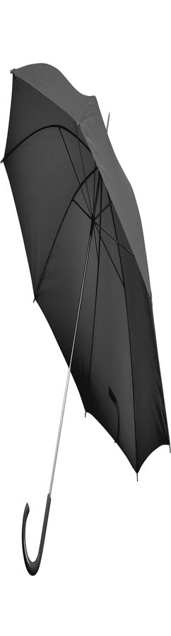 Зонт-трость с пластиковой ручкой, полуавтомат; черный фото