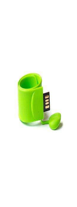 Флешка браслет Слэп силиконовая, салатовая, 8Гб фото