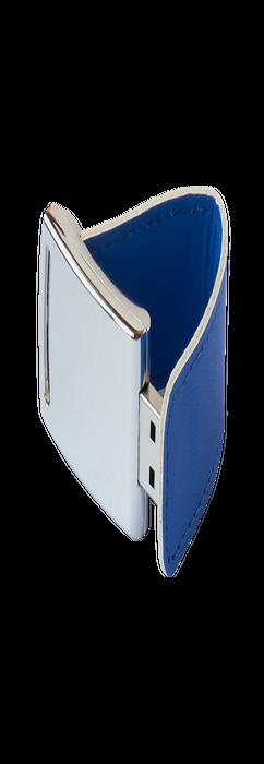 Флешка Элегант, металлическая с кожаными вставками, синяя, 4Гб фото