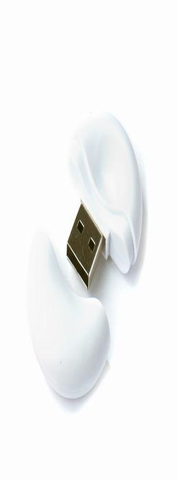 Флешка Таблетка круглая, пластиковая, софт-тач, белая, 32Гб фото