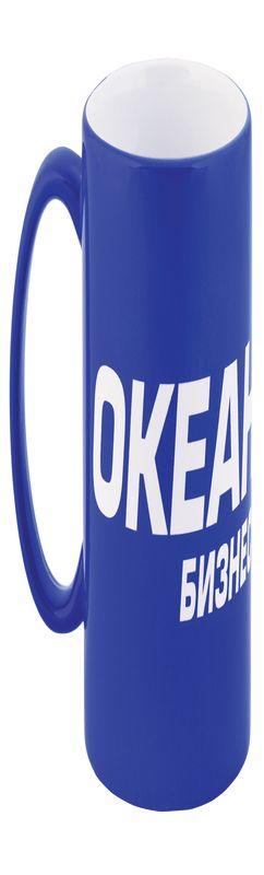 Кружка керамическая под гравировку, цвет синий фото