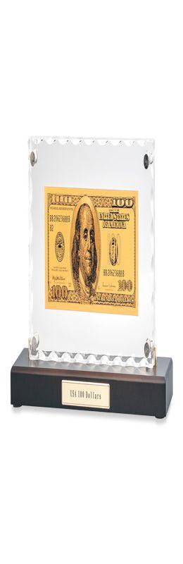 """""""Банкнота 100 USD"""" в стекле фото"""