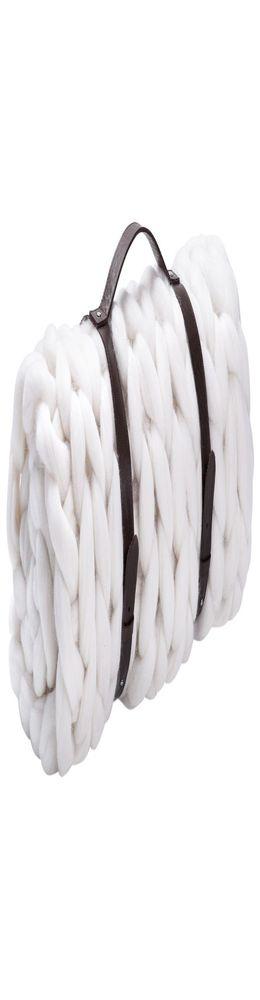 Плед крупной вязки Tracery, белый фото