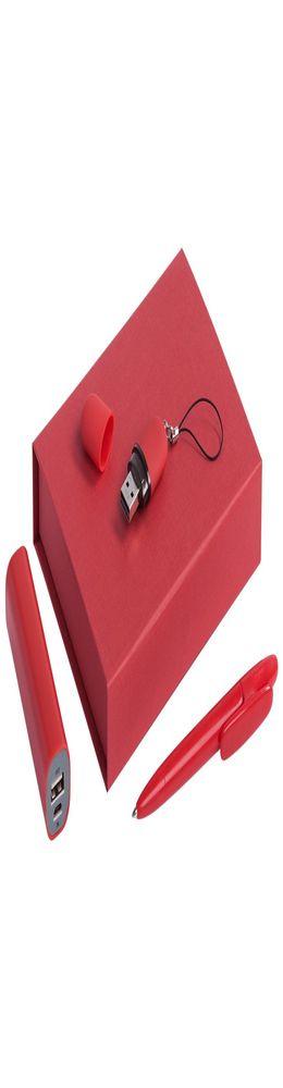 Набор Bond: аккумулятор, флешка и ручка, красный фото