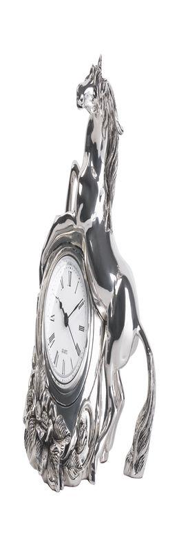 Часы каминные с лошадью, посеребрение, h 20 см фото