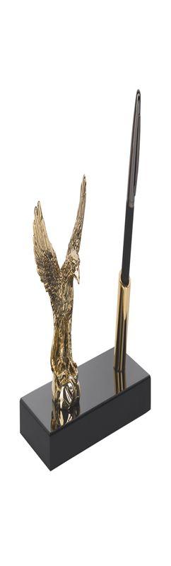 """Подставка настольная """"Орёл"""", с ручкой, на деревянной основе, позолота, h 12 см фото"""