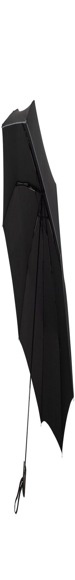 Складной зонт Wood Classic с прямой ручкой и серой окантовкой, черный фото