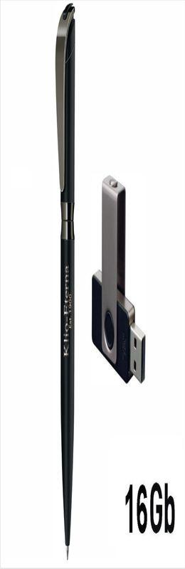 Набор авторучка + флеш-карта 16Гб в футляре, прорезиненная поверхность, черный фото