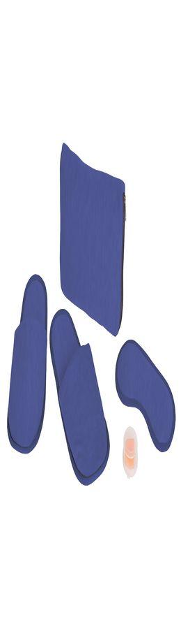 """Набор дорожный """"Релакс"""": маска, беруши, тапки;  синий; 20х15 см;  хлопок/нейлон фото"""