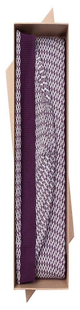 Набор Crown: шарф и шапка, баклажаново-белый фото